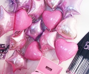 pink, balloons, and stars image