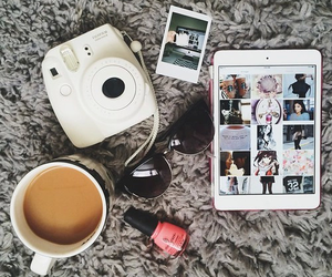 coffee, nail polish, and pictures image