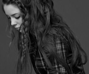 black and white, braid, and grey image