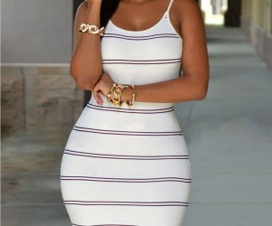 dress, open back, and stripes image