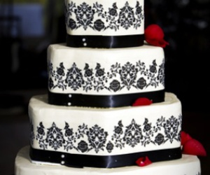 black and white, bride, and cake image
