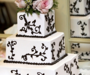 black and white, bride, and wedding cake image