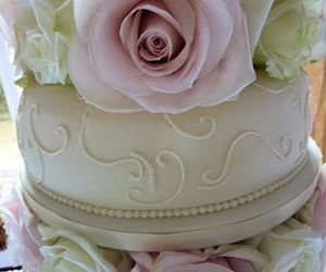 wedding cake, bride, and pink wedding image