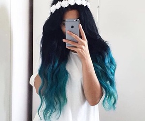 hair, blue, and flowers image