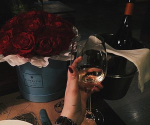 girl, roses, and wine image