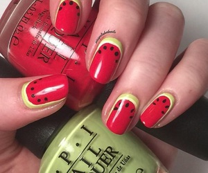fake nails, pretty, and red image