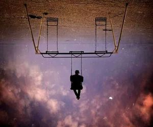sky, swing, and man image