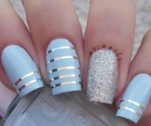 nails, blue, and silver image