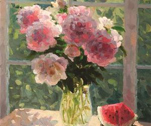 bouquet, peonies, and vase image