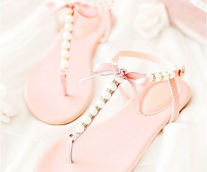 fashion, pink, and flat sandals image