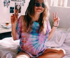 girl, hippie, and peace image