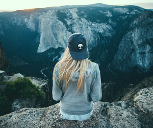 girl, mountains, and blonde image
