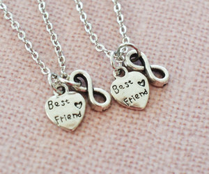 bridesmaid, best friend necklace, and heart jewelry image