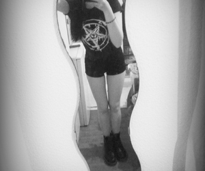 black and white, me, and pentagram image