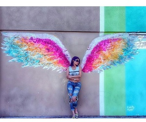angel, hipster, and rainbow image