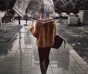 fashion, girl, and rain image