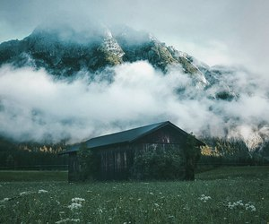 mountains, fog, and house image
