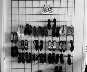 black and white, high heeled shoes, and high heels image