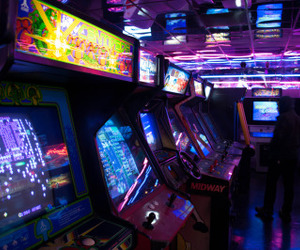 arcade, game, and neon image