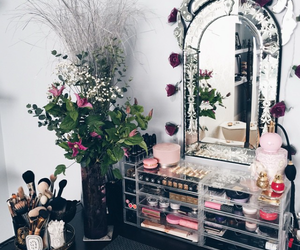 flowers, mirror, and girl stuffs image