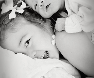 baby, black & white, and little girl image
