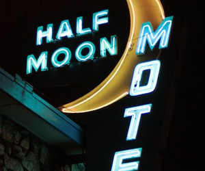 light, moon, and motel image