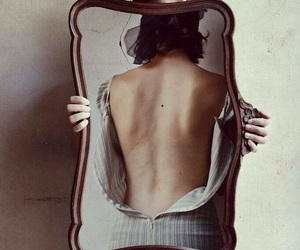 back, dress, and mirror image