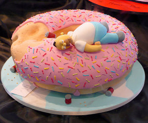 homer, donuts, and cake image