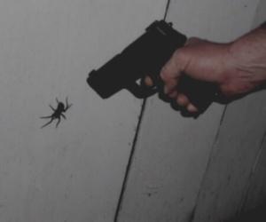 spider, grunge, and gun image