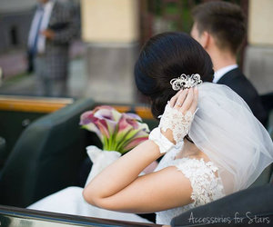 bow, chantilly, and bride image