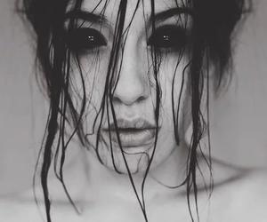 black, eyes, and dark image