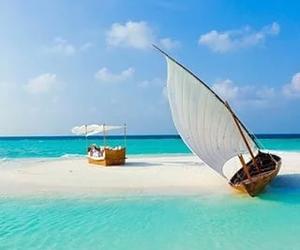 beach, sea, and boat image