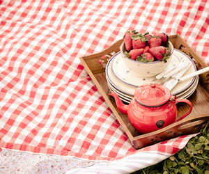 strawberry, picnic, and sweet image