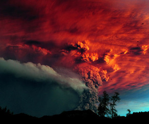 volcano, sky, and nature image