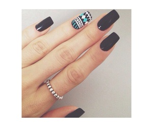black, nail polish, and fashion image
