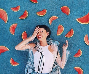 girl, watermelon, and blue image