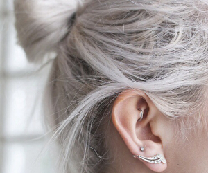 hair, piercing, and white image