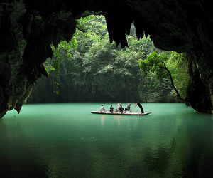 beautiful, boat, and cave image