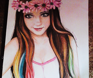 dibujo, drawing, and flowers image