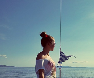 boat, Greece, and girl image