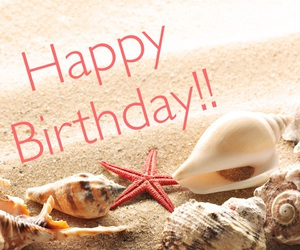 beach, happy birthday, and sand image