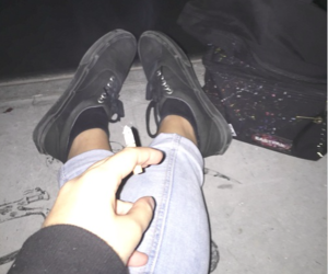 girl, night, and vans image