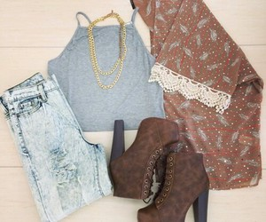 clothes, heels, and jeans image