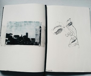 drawing, notebook, and person image