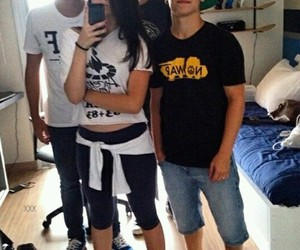 boys, girl, and friends image