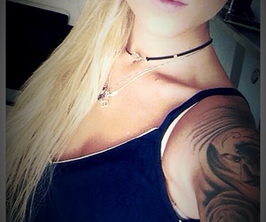 blonde, blue eyes, and tattoo image