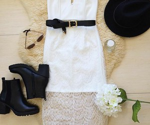 boots, dress, and hat image
