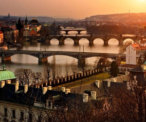 prague, city, and sunset image