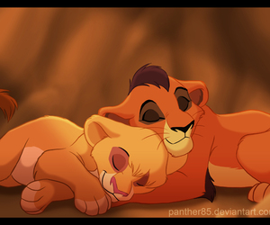 lion king, nap, and cubs image