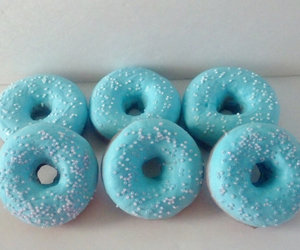 blue, frosting, and donuts image